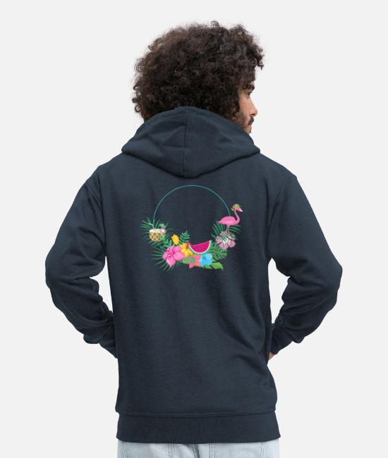 Hen Hoodies & Sweatshirts - beachy_wreath_flamingo - Men's Premium Zip Hoodie navy