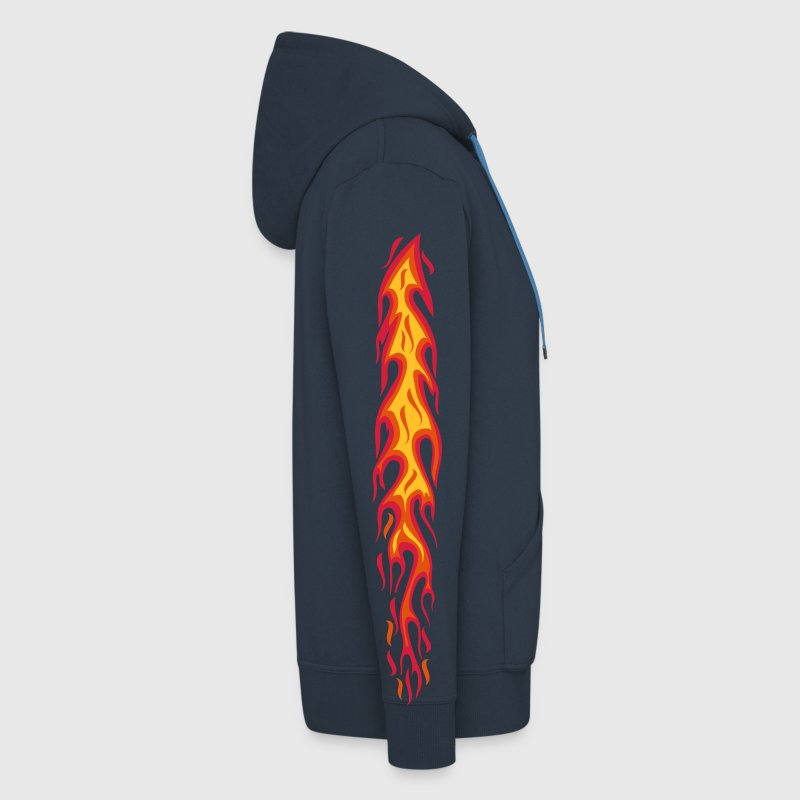 flames flammen fire 3color arm sleeves tattoo  - Men's Premium Hooded Jacket