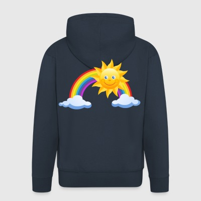Sun, rainbow and clouds - Men's Premium Hooded Jacket