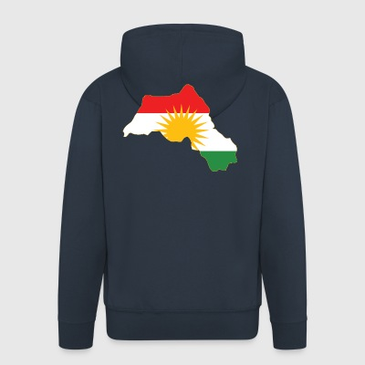 Kurdistan Flag Map - Men's Premium Hooded Jacket