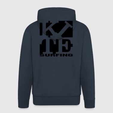 kite homage to robert Indiana surfing black out - Men's Premium Hooded Jacket