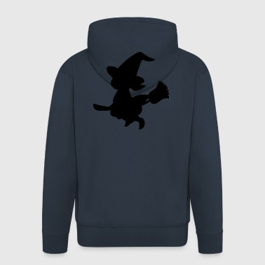 Witch on broom - Men's Premium Hooded Jacket