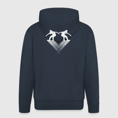 I love skating heart for skateboarding gift - Men's Premium Hooded Jacket