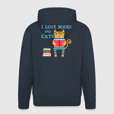I love books and cats - Men's Premium Hooded Jacket
