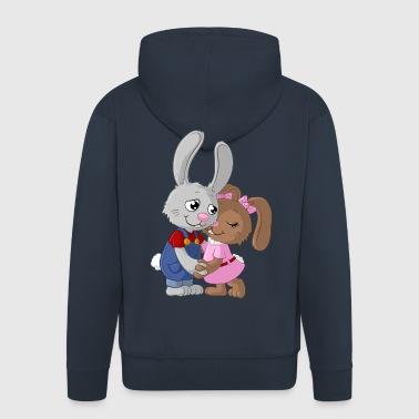 Cute cartoon easter bunny couple - Men's Premium Hooded Jacket