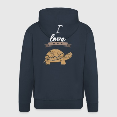 I love turtles gift I love - Men's Premium Hooded Jacket