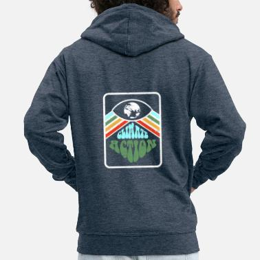 Retro Climate Action - Men's Premium Zip Hoodie