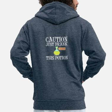 Attention! Zombie Potion Halloween Costume Apocalypse - Men's Premium Zip Hoodie