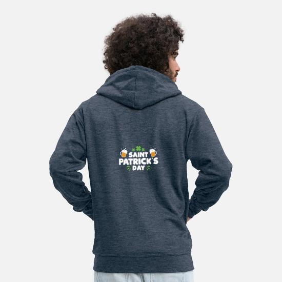 Alcohol Hoodies & Sweatshirts - Saint Patrick's Day Funny drinking top - Men's Premium Zip Hoodie heather denim