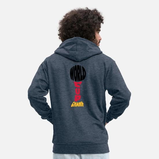 Shape Hoodies & Sweatshirts - Worldcup Champion - Men's Premium Zip Hoodie heather denim
