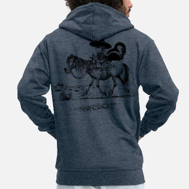 Thelwell 'Cowboy with a skunk' - Men's Premium Zip Hoodie