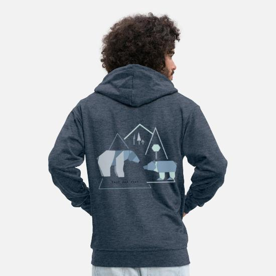 Best Dad Hoodies & Sweatshirts - Best dad bear dad - Men's Premium Zip Hoodie heather denim