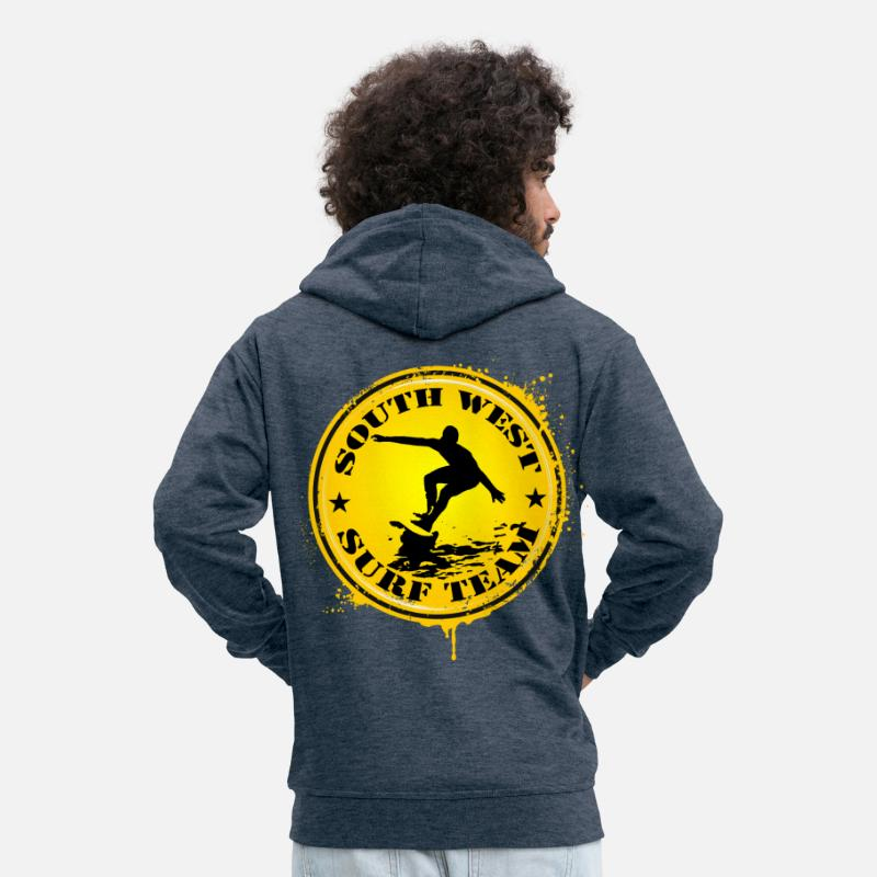 Aquitaine Hoodies & Sweatshirts - south west surf  team - Men's Premium Zip Hoodie heather denim