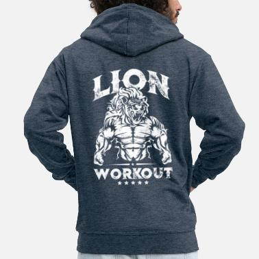 Pain Lion Beast Workout - Men's Premium Zip Hoodie