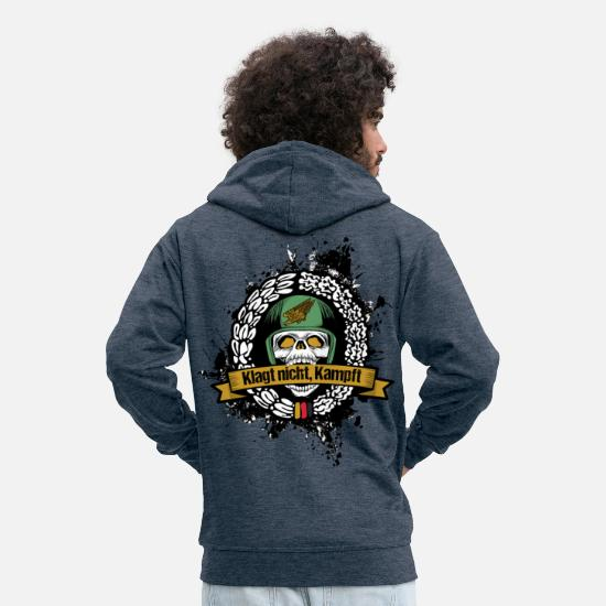 Army Hoodies & Sweatshirts - Don't complain, fight paratroopers - Men's Premium Zip Hoodie heather denim