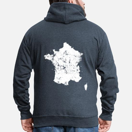 Carte Vintage de la France Veste à capuche Premium Homme charbon