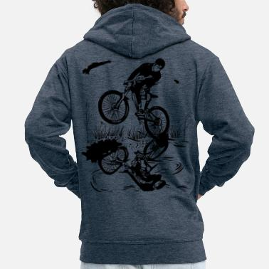 Fat Mountain bike mud fun - MTB T-shirt. Let - Men's Premium Zip Hoodie