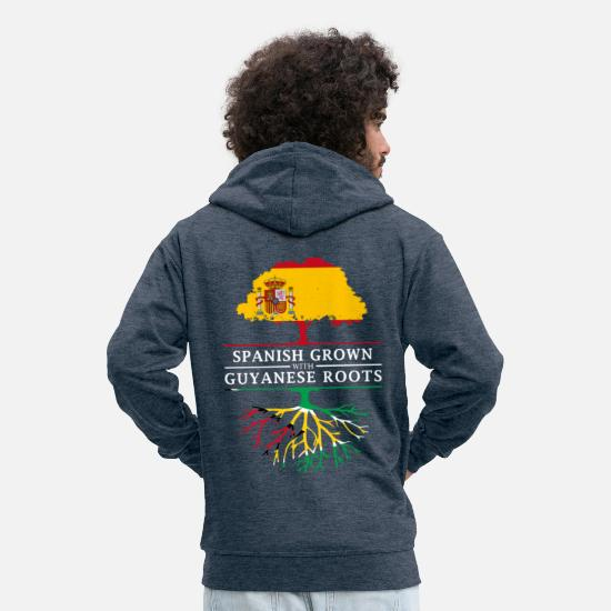 Patriot Hoodies & Sweatshirts - Spanish Grown with Guyanese Roots - Men's Premium Zip Hoodie heather denim