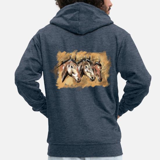 Ręcznie rysowane głowy koni, ilustracja, konie Premium bluza