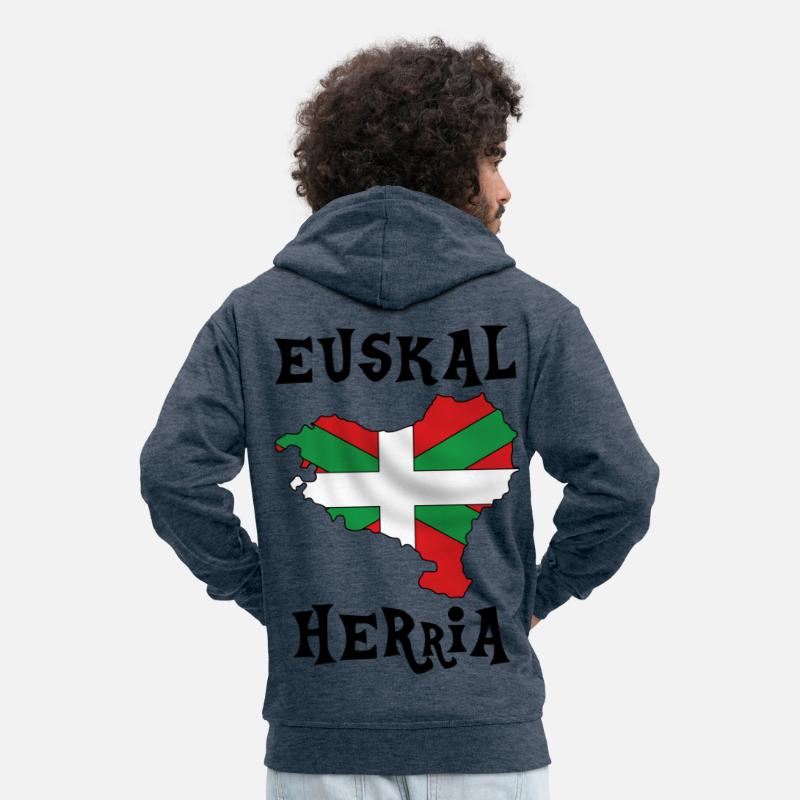 Flag Hoodies & Sweatshirts - euskal herria design 107 - Men's Premium Zip Hoodie heather denim