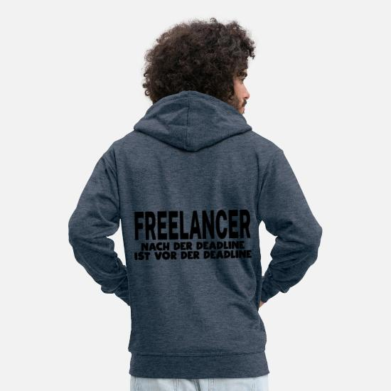 Freelancer Hoodies & Sweatshirts - Freelance deadline - Men's Premium Zip Hoodie heather denim
