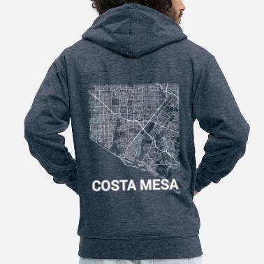 Designs Costa Mesa city map and streets - Men's Premium Zip Hoodie