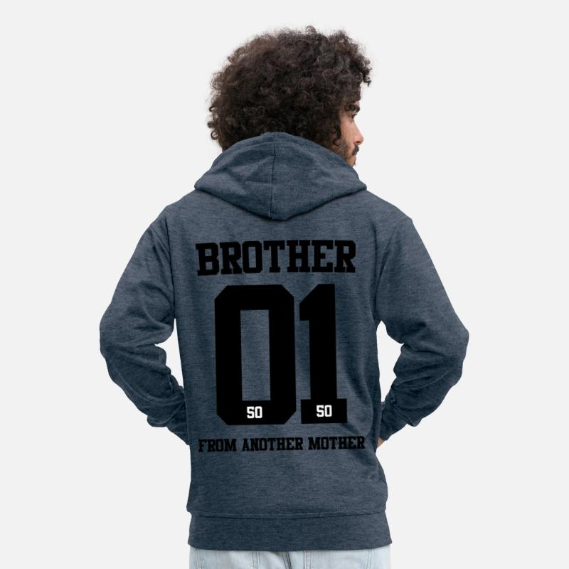Brother From Another Mother Hoodies & Sweatshirts - BROTHER FROM ANOTHER MOTHER 01 - Men's Premium Zip Hoodie heather denim