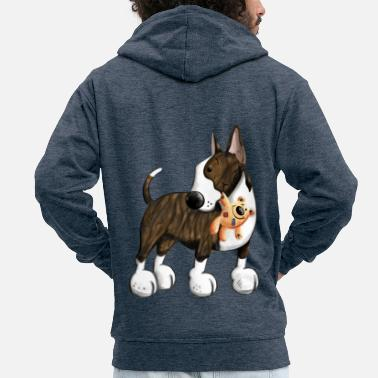 Bullterrier Bullterrier with Teddy - Men's Premium Hooded Jacket