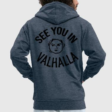 See You in Valhalla face - Men's Premium Hooded Jacket