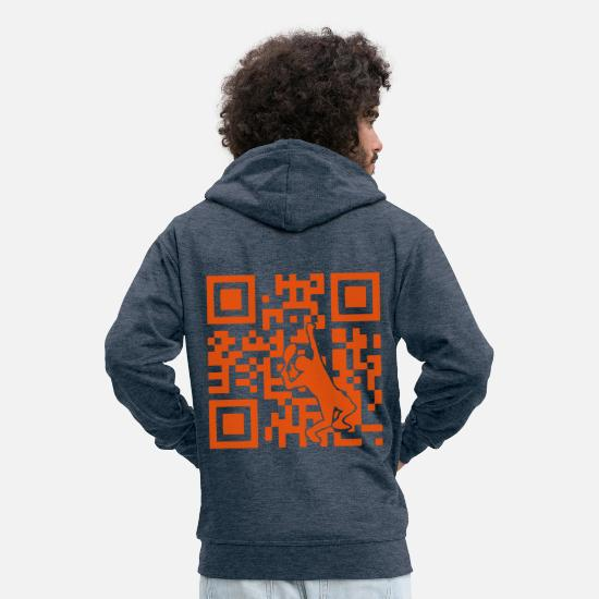 Code Hoodies & Sweatshirts - code qr ilove tennis - Men's Premium Zip Hoodie heather denim