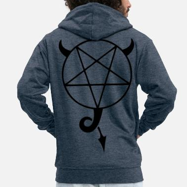 Satanic satanic pentagram - Men's Premium Hooded Jacket