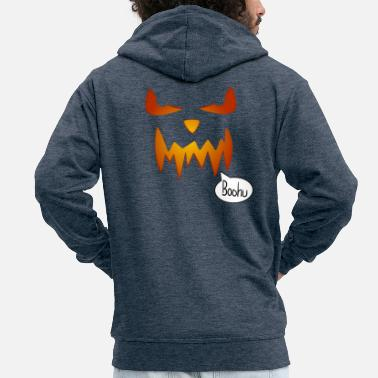 Schauer Pumpkin Halloween scary face - Men's Premium Zip Hoodie