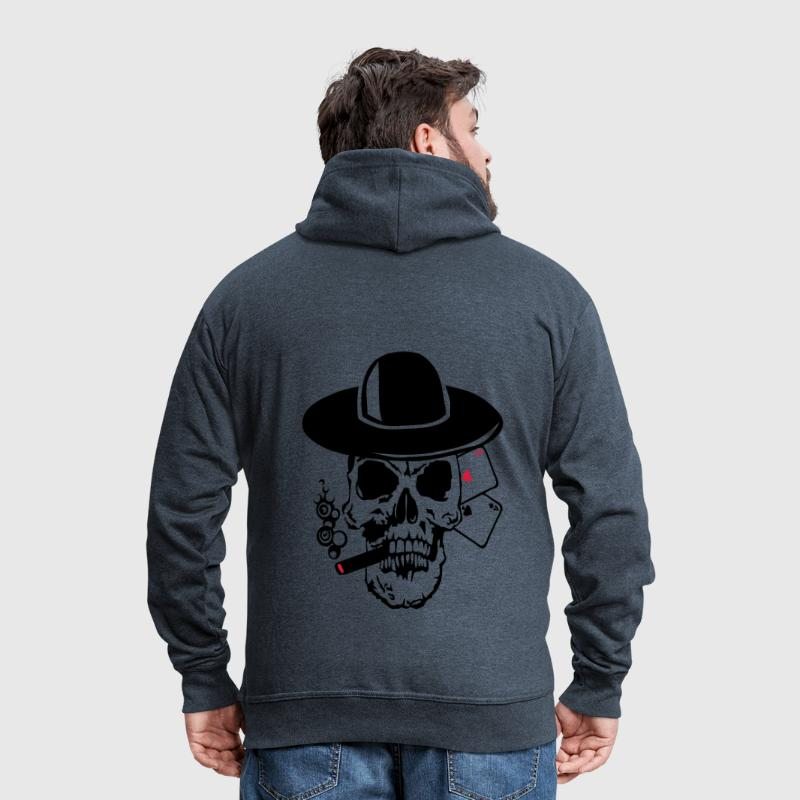 poker tete mort as skull dead card carte - Men's Premium Hooded Jacket