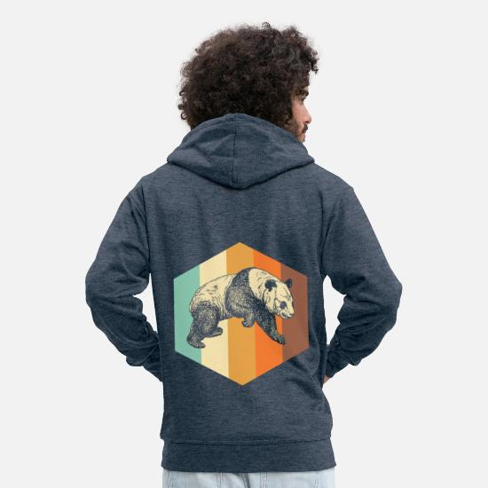 Gift Idea Hoodies & Sweatshirts - Vintage Panda Retro - Men's Premium Zip Hoodie heather denim