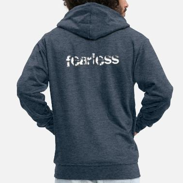 Christian Design - Fearless in Modern Eroded Font - Men's Premium Zip Hoodie