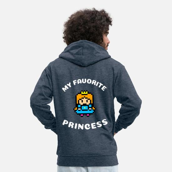 Love Hoodies & Sweatshirts - My Favorite Princess | Princess Royal Gift - Men's Premium Zip Hoodie heather denim