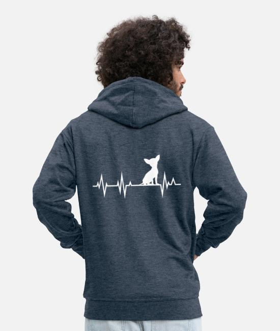 Animal Welfare Hoodies & Sweatshirts - Chihuahua Heartbeat Heartbeat - Men's Premium Zip Hoodie heather denim