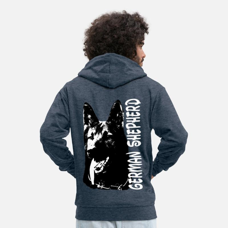 Dog Owner Hoodies & Sweatshirts - German shepherd, dogs, dog head, dog sport - Men's Premium Zip Hoodie heather denim