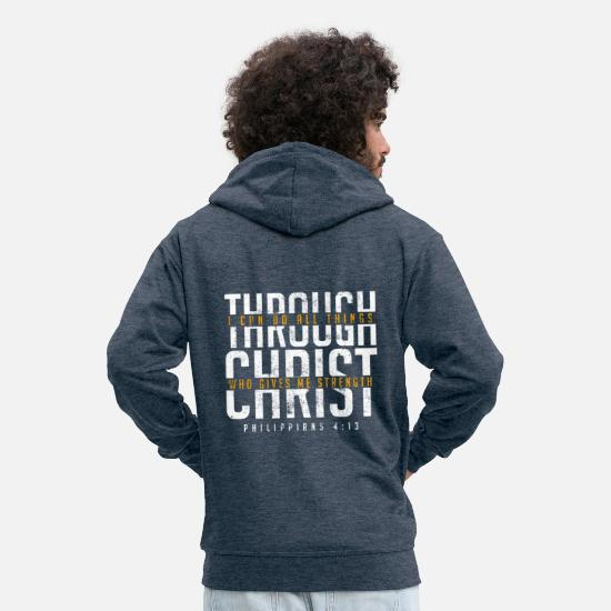 Bible Verse Hoodies & Sweatshirts - Bible verse Faith Jesus - Men's Premium Zip Hoodie heather denim