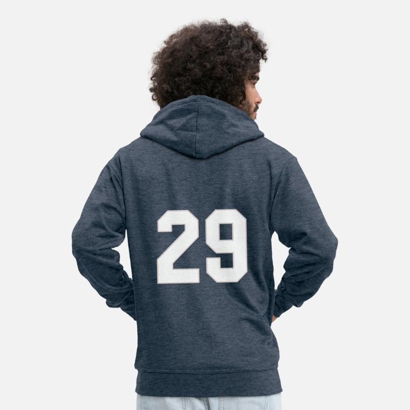 3438a8080e Baseball Sports jersey number / Jersey Number 29 Men's Premium Hooded  Jacket - heather denim