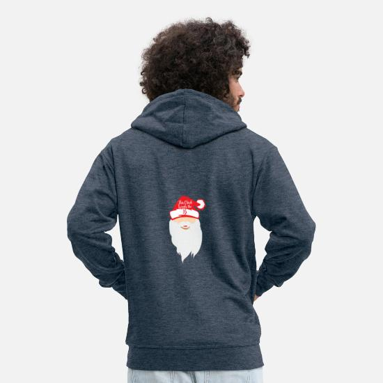 Christmas Hoodies & Sweatshirts - Santa the Boss - Santa Claus shirt - Men's Premium Zip Hoodie heather denim
