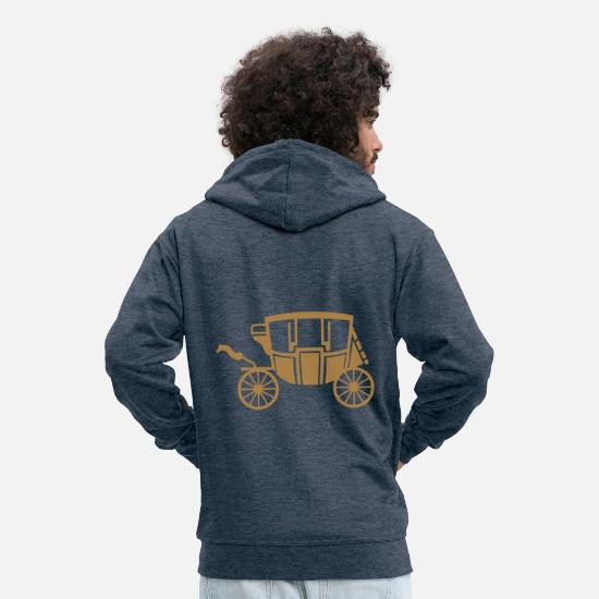 Vintage Hoodies & Sweatshirts - diligence vintage transport 3 - Men's Premium Zip Hoodie heather denim