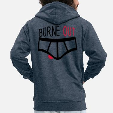 Couille burne out burnout underpants quote couille - Men's Premium Zip Hoodie