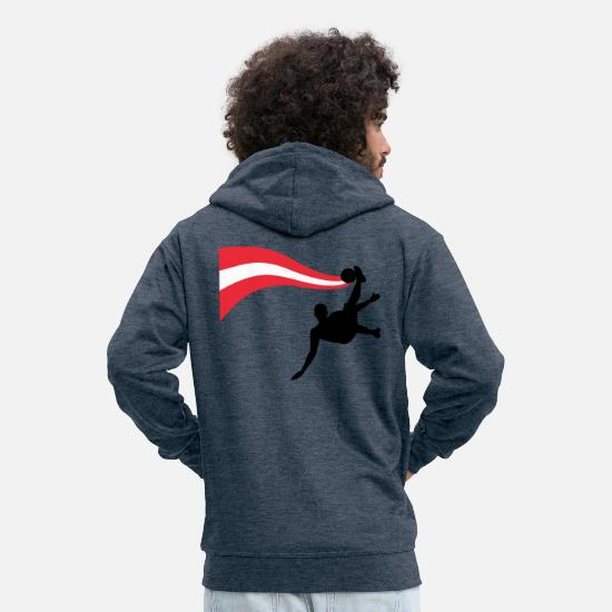 National Team Hoodies & Sweatshirts - Fallbacker Football Austria Shirt - Men's Premium Zip Hoodie heather denim