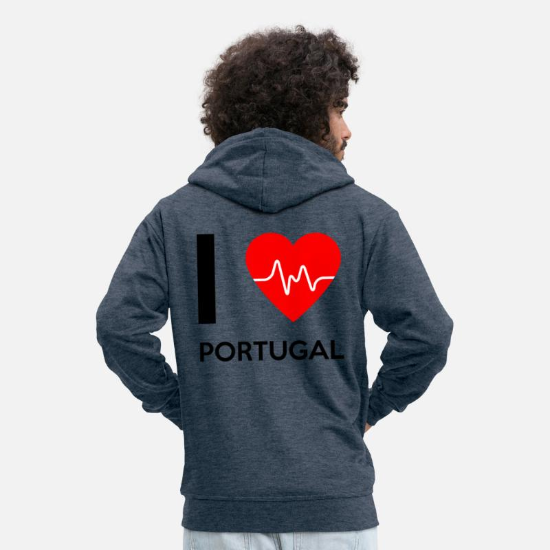 I Love Veste À Portugal Capuche Premium Homme Jeans Bleu H2EDI9W