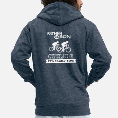 Father Father And Son - Cycling - Men's Premium Zip Hoodie