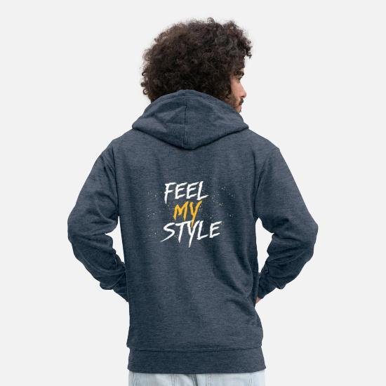 Egoist Hoodies & Sweatshirts - Feel my Style - Gift Idea - Men's Premium Zip Hoodie heather denim