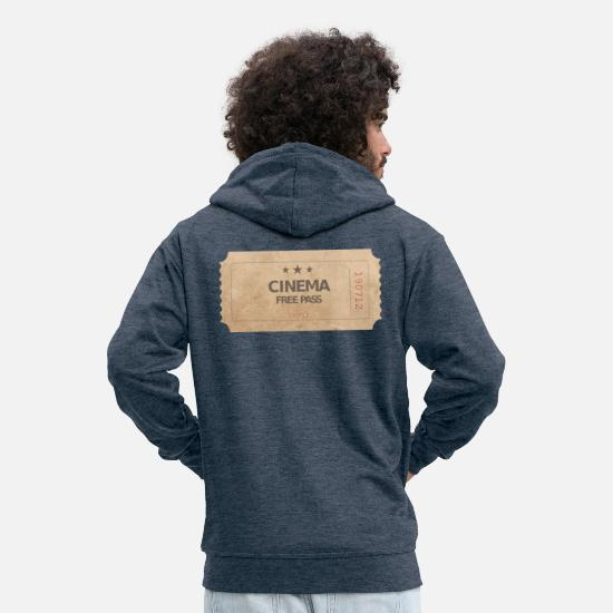 Hollywood Hoodies & Sweatshirts - Cinema Ticket Cinema Movie Free Pass - Men's Premium Zip Hoodie heather denim