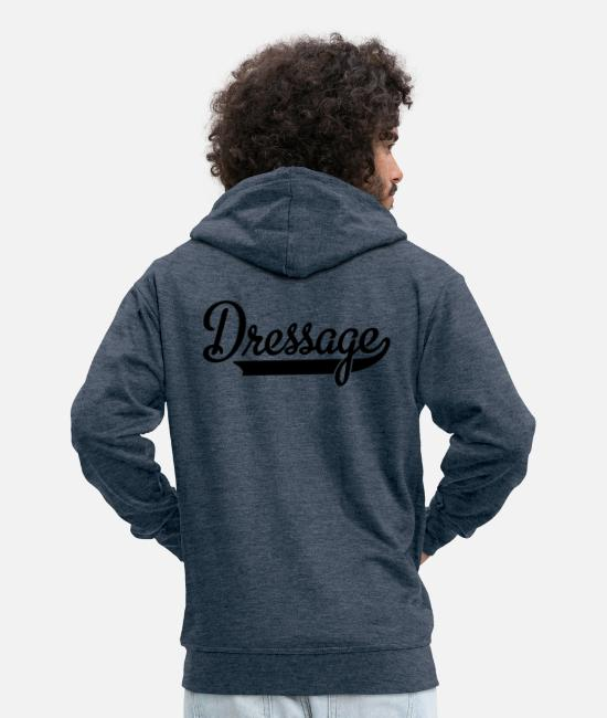 Dressage Horse Hoodies & Sweatshirts - dressage - Men's Premium Zip Hoodie heather denim