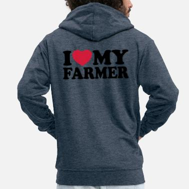 I love my farmer - Men's Premium Zip Hoodie
